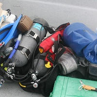 Some of the equipment required for the field study. Note the scraper.
