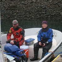 Christopher Roy, Graduate Student at University of Maine and Lee Ann Thayer, Marine Biology Student at University of Maine, ready to depart for Seal Harbor.